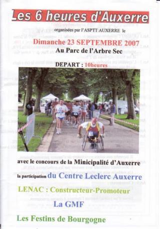 Affiche 6 heures d'Auxerre 2007